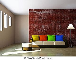 ソファー, ランプ, livingroom