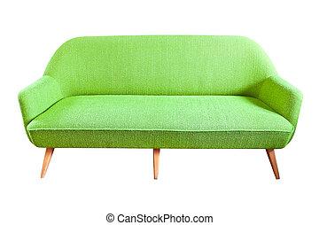 ソファー, 切り抜き, 緑, 隔離された, 道