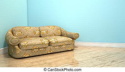 ソファー, 古い, 部屋, クラシック