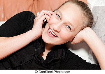 ソファー, 女の子, あること, 電話