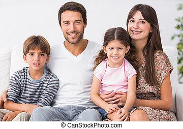 ソファー, 家族, 幸せ