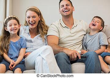 ソファー, 幸せな家族, モデル