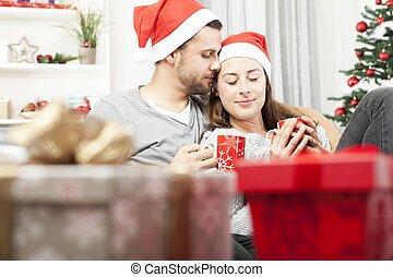 ソファー, 恋人, 若い, 弛緩, クリスマス