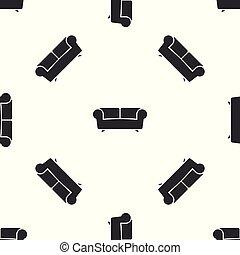ソファー, 灰色, イラスト, 隔離された, バックグラウンド。, ベクトル, seamless, パターン, 白, アイコン
