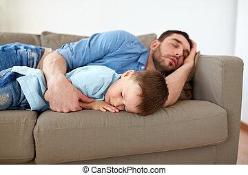 ソファー, 父, 睡眠, 家, 息子, 幸せ