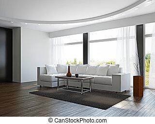 ソファー, 白, livingroom