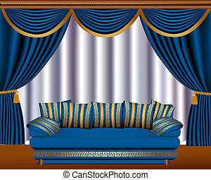 ソファー, 窓, ブラインド, 包嚢