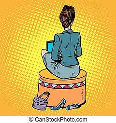 ソファー, 背中, 女性実業家, 座る