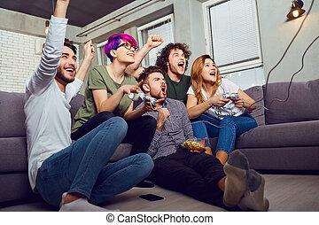 ソファー, 遊び, 友人, ビデオ, モデル, ゲーム, グループ