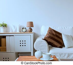 ソファー, commode, 図画, 白い部屋