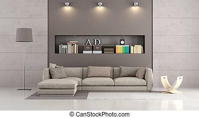 ソファー, livingroom, 現代 同世代の人