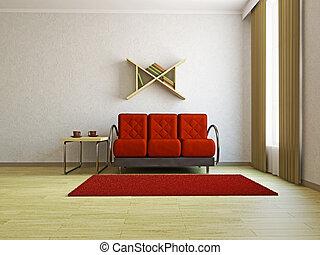 ソファー, livingroom, 赤