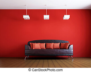 ソファー, livingroom, 革