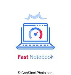 ソフトウェア, アクセス, antivirus, ノート, 解決, 速い, インターネット, 概念