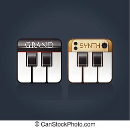 ソフトウェア, ピアノ, ベクトル, 音楽, アイコン
