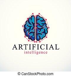 ソフトウェア, 未来派, 概念, 知性, programs., 考え, 人工, 解剖, 脳, コンピュータ, ベクトル, 痛みなさい, 人間, 要素, ロゴ, エレクトロニクス, 理性的, 技術, icon., 機械, design.