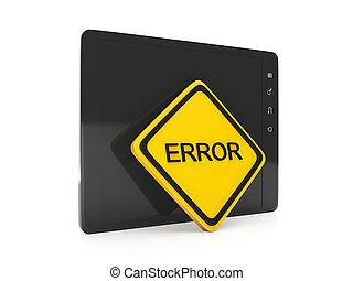 ソフトウェア, 間違い, error., タブレット, 印