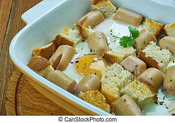 ソーセージ, 焼きなさい, 卵, イタリア語