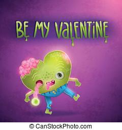 ゾンビ, バレンタイン, heart., カード, 幸せ