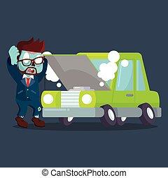 ゾンビ, ビジネスマン, 壊される, パニックに陥る, 自動車