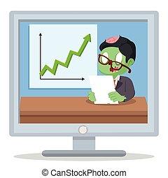 ゾンビ, ビジネスマン, 高く, 報告, 収入