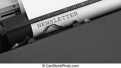 """タイプされる, メッセージ, typewriter., 型, """"newsletter"""""""