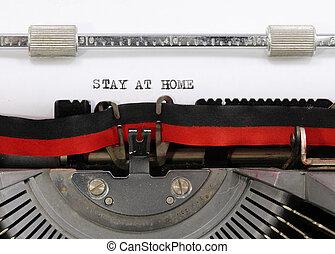 タイプライター, テキスト, 滞在, 家
