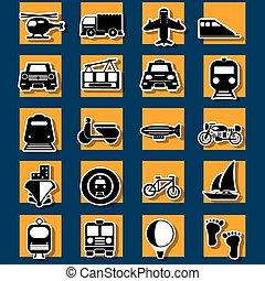 タイプ, 旅行, 交通機関, ステッカー, アイコン