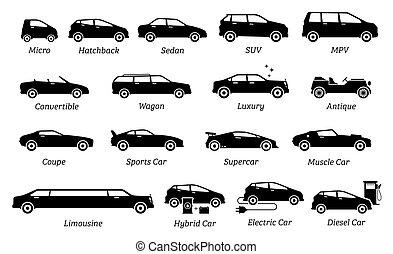 タイプ, 自動車, 別, リスト, icons.