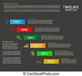 タイムライン, テンプレート, 暗い, 6, アイコン, ステップ, infographic, 背景を彩色しなさい