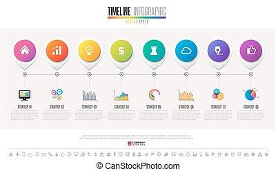 タイムライン, デザイン, テンプレート, infographics