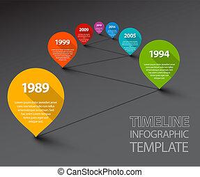 タイムライン, ポインター, infographic, テンプレート, 新たに, 線