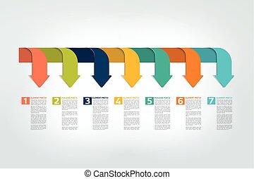 タイムライン, レポート, チャート, infographic, vector., scheme., テンプレート