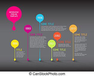 タイムライン, 暗い, infographic, テンプレート, レポート, 泡