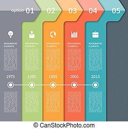 タイムライン, 現代, 矢, 要素, infographics