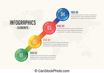 タイムライン, 4, infographic, デザイン, テンプレート, ステップ