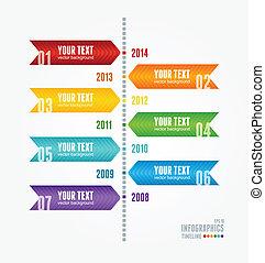 タイムライン, infographic., ベクトル, レトロ, style.