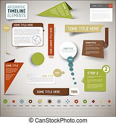 タイムライン, infographic, 要素, テンプレート, /
