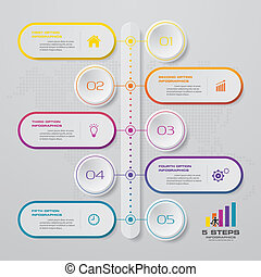 タイムライン, infographic, 5, element., ステップ