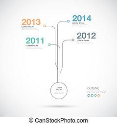 タイムライン, infographics, アウトライン, innov