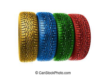 タイヤ, 白, 冬, カラフルである, 隔離された