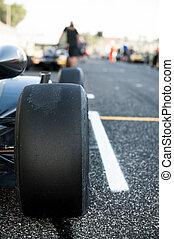 タイヤ, 自動車, 油層, の上, 黒, モーター, 終わり, スポーツ
