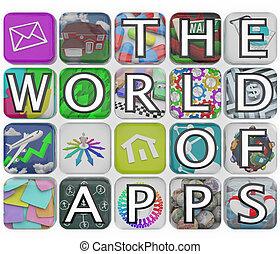 タイル, しばらくの間, apps, 適用, 言葉, 世界