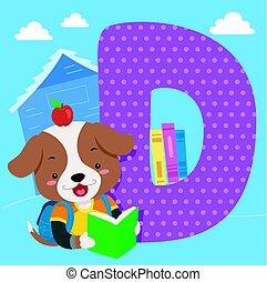 タイル, アルファベット, 読まれた, 犬