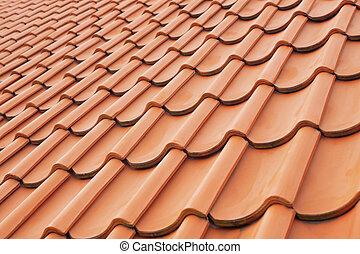 タイル, 屋根, 見通し, 背景, 粘土, 赤