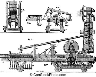 タイル, 機械, 型, engraving.
