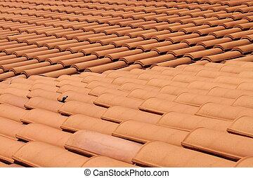 タイル, 赤, 屋根, 粘土