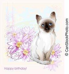 タイ人, birthday, gerberas, カード, 子ネコ