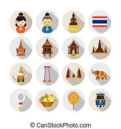 タイ, セット, 平ら, アイコン
