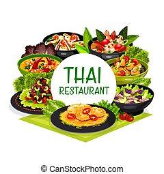 タイ, タイ人, 皿, ラウンド, フレーム, 料理, ベクトル